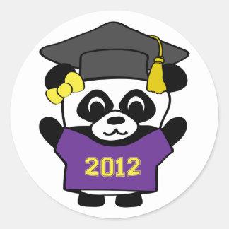 Girl Panda Purple & Gold 2012 Grad Classic Round Sticker