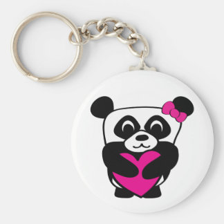 Girl Panda with Big Pink Heart Keychain