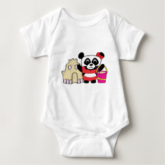 Girl Panda with Sandcastle Baby Bodysuit