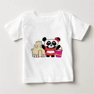 Girl Panda with Sandcastle Baby T-Shirt