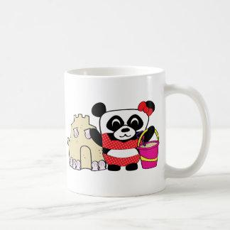 Girl Panda with Sandcastle Coffee Mugs