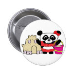 Girl Panda with Sandcastle Pinback Button