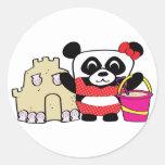 Girl Panda with Sandcastle Sticker