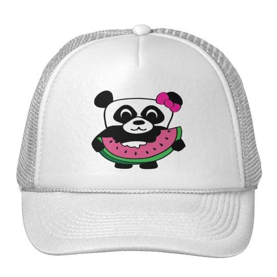 Girl Panda with Watermelon Slice Trucker Hat