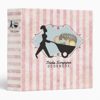 girl pastry chef wheelbarrow personal cookbook binder