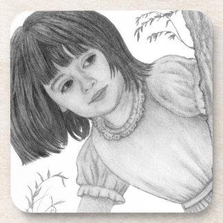 Girl Peeking Around Tree Drawing Drink Coasters