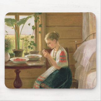 Girl Peeling Berries, 1880 Mouse Pad