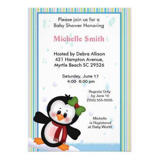 girl penguin baby shower invitation zazzle