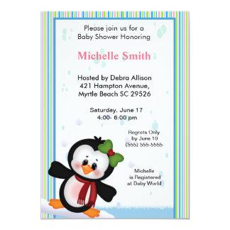 Girl Penguin Baby Shower Invitation