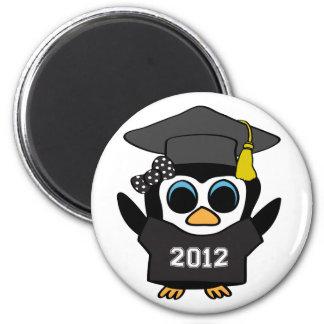 Girl Penguin Black & White 2012 Grad 2 Inch Round Magnet