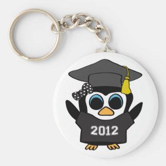 Girl Penguin Black & White 2012 Grad Keychain