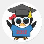Girl Penguin Blue & Red 2012 Grad Sticker