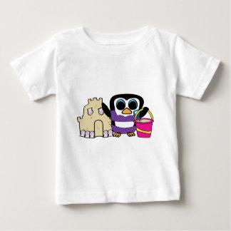 Girl Penguin Building Sandcastle Baby T-Shirt