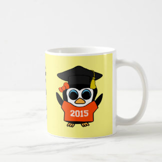 Girl Penguin Grad Wearing Orange & White 2015 Tee Coffee Mug