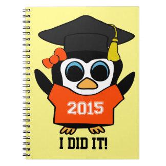 Girl Penguin Grad Wearing Orange & White 2015 Tee Notebook