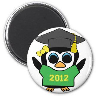 Girl Penguin Green Gold 2012 Grad Fridge Magnets