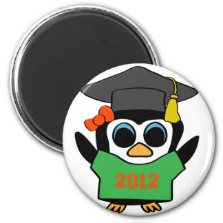 Girl Penguin Green Orange 2012 Grad Refrigerator Magnet