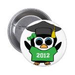 Girl Penguin Green & White 2012 Grad Buttons
