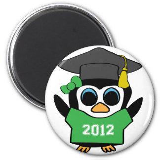 Girl Penguin Green White 2012 Grad Refrigerator Magnet