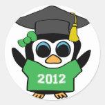 Girl Penguin Green & White 2012 Grad Round Sticker