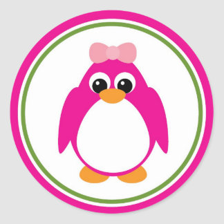 Girl Penguin in Pink and Green Classic Round Sticker
