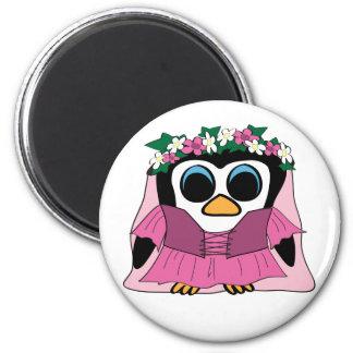 Girl Penguin in Renaissance Dress 2 Inch Round Magnet