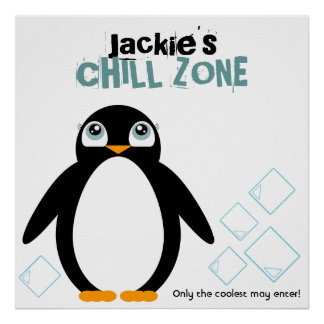 girl PENGUIN personalized kid's room art poster