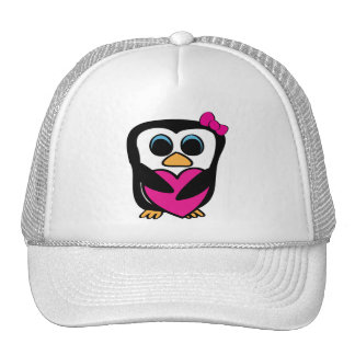 Girl Penguin with Big Pink Heart Trucker Hat