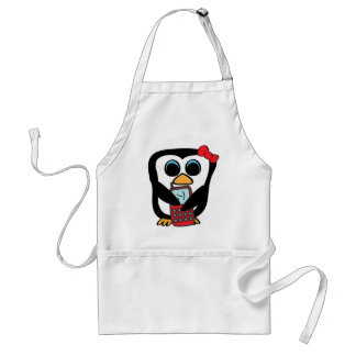 Girl Penguin with Cellphone Adult Apron