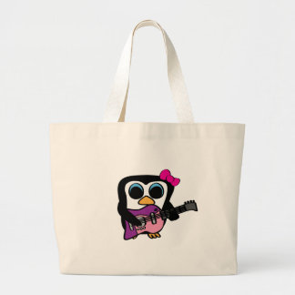 Girl Penguin with Electric Guitar Tote Bag