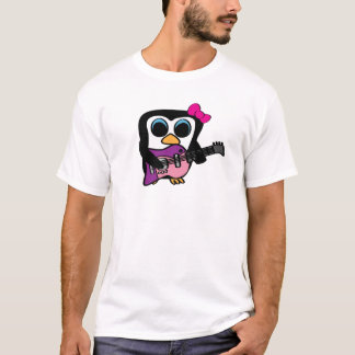Girl Penguin with Electric Guitar T-Shirt