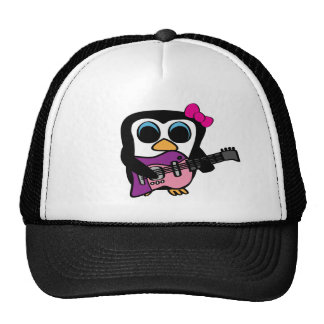 Girl Penguin with Electric Guitar Trucker Hat