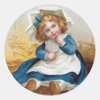 Girl Perplexed by Giant Pumpkin Vintage Classic Round Sticker