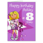Girl personalised age 8 birthday card
