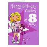 Girl personalised age 8 birthday card