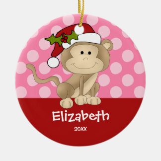 Girl Personalized Christmas Ornament Monkey Pink