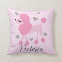 Girl Personalized Pink Poodle Throw Pillow
