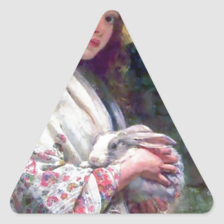 Girl Pet Bunny Rabbit Painting Triangle Stickers