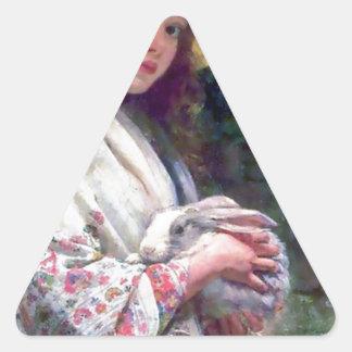 Girl Pet Bunny Rabbit Painting Triangle Sticker