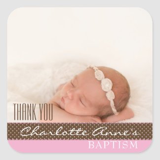 Girl Photo Baptism Thank You Favor | Pink Brown Square Sticker