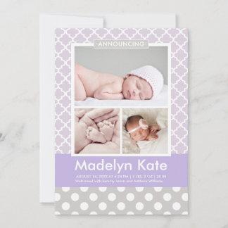 Girl Photo Birth Announcement Card | Chic Pattern