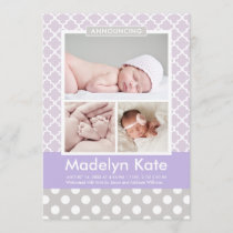 Girl Photo Birth Announcement Card | Chic Pattern