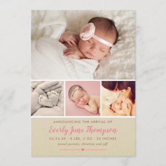 Girl Photo Birth Announcement Card | Rustic Pink