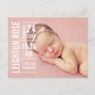 Girl Photo Birth Announcement | Modern Type