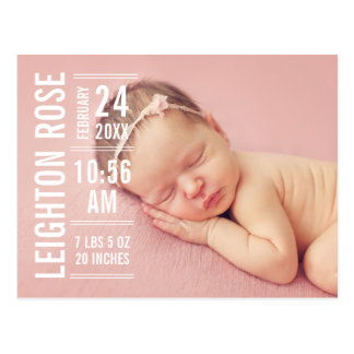 Girl Photo Birth Announcement | Modern Type Postcard