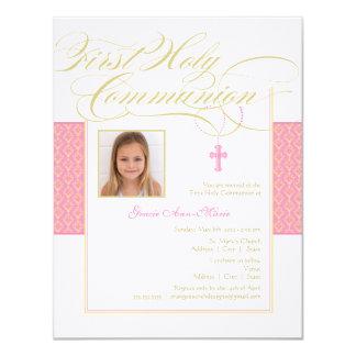 "Girl Photo First Communion Invitation - Pink 4.25"" X 5.5"" Invitation Card"