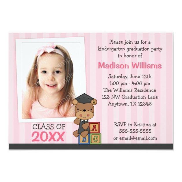 Girl Photo Graduation Bear Pink Stripes 5x7 Paper Invitation Card