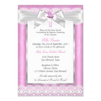 Girl Photo Pink Floral Cross Baptism Christening Card