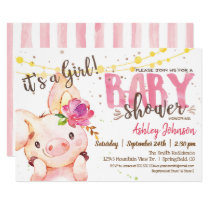 Girl Pig Baby Shower Farm invitation Farm