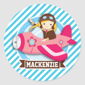 Girl Pilot in Pink Airplane; Blue & White Stripes Classic Round Sticker